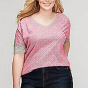 Lane Bryant  Chevron Shirt Neon Pink Gray 22/24 3X